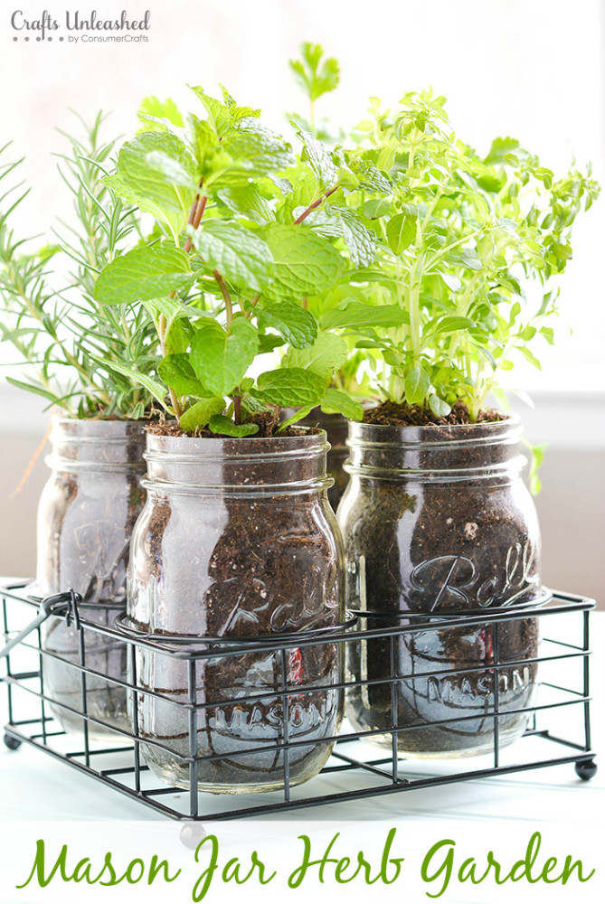 The cool thing about mason jar herb garden that you can easily move it around. (via blog)