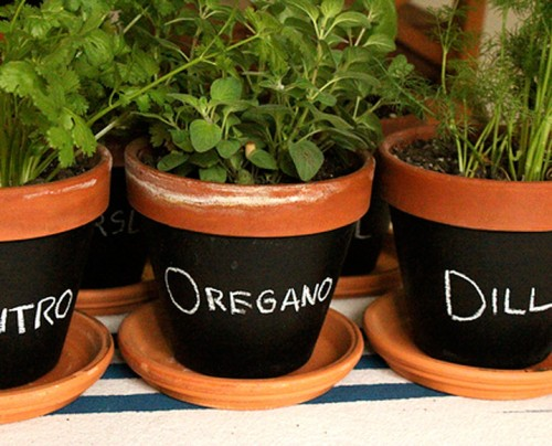 Chalkboard planters works even better than garden markers for a herb garden. (via shelterness)