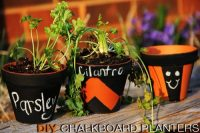 Chalkboard planters won't let you forget what herbs you're growing at the moment.