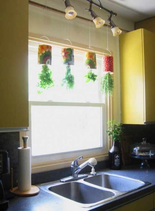 Upside down growing is quite unusual but it's a cool idea for a small indoor herb garden. (via shelterness)