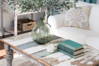 distressed coffee table is a perfect focal point of any living room