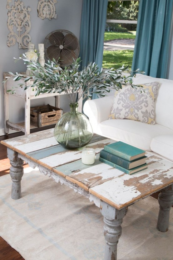 Marvelous Distressed Coffee Table Is A Perfect Focal Point Of Any Living Room