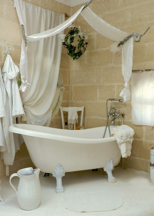 fabric canopies could be used in bathrooms too