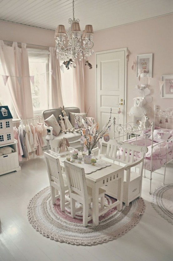 Amazing modern looking shabby chic kids room design