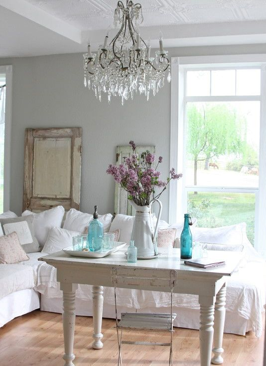 85 cool shabby chic decorating ideas shelterness for Grey shabby chic living room ideas