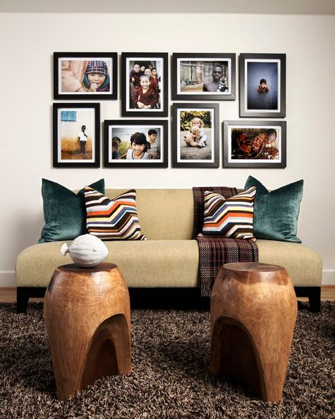 Family photos above your sofa