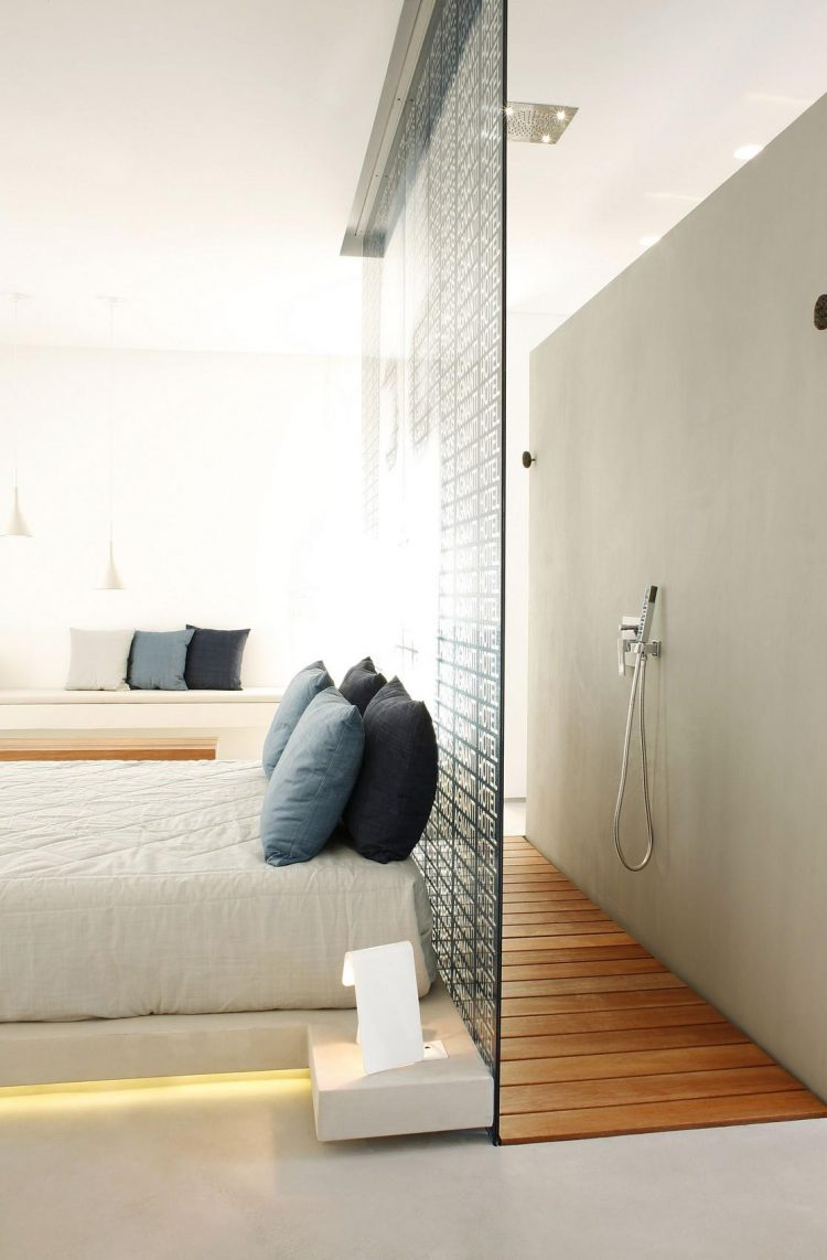 walk-in shower could be placed right behind a bed