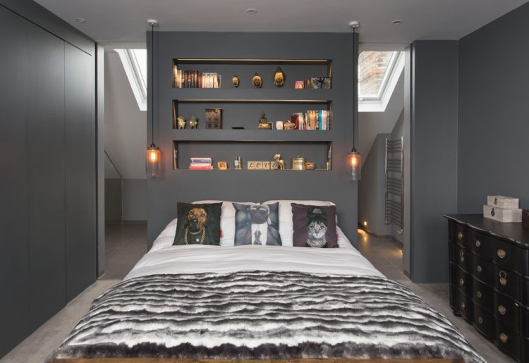 45 cool ideas to use space behind the bed shelterness. Black Bedroom Furniture Sets. Home Design Ideas