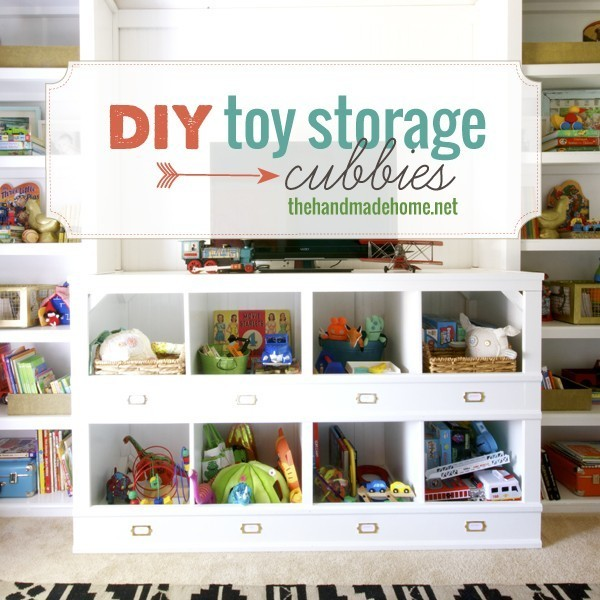 In case you need a simple but smart organizer for a playroom, this project is right for you. You just need some wood boards, mouldings and white paint. (via thehandmadehome)