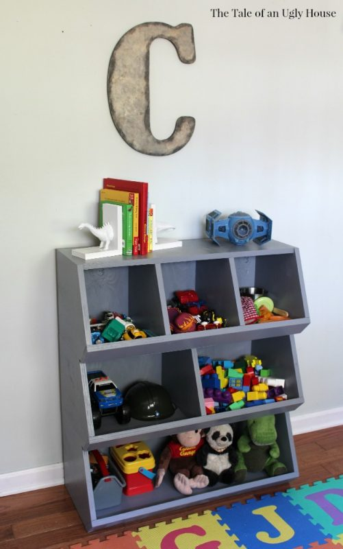 Only one sheet of plywood is necessary to build this practical toy storage solution. It
