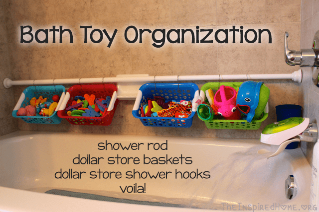 Shower rod, dollar store baskets and shower hooks are only things you need to make a perfect bath toy organizer. (via theinspiredhome)