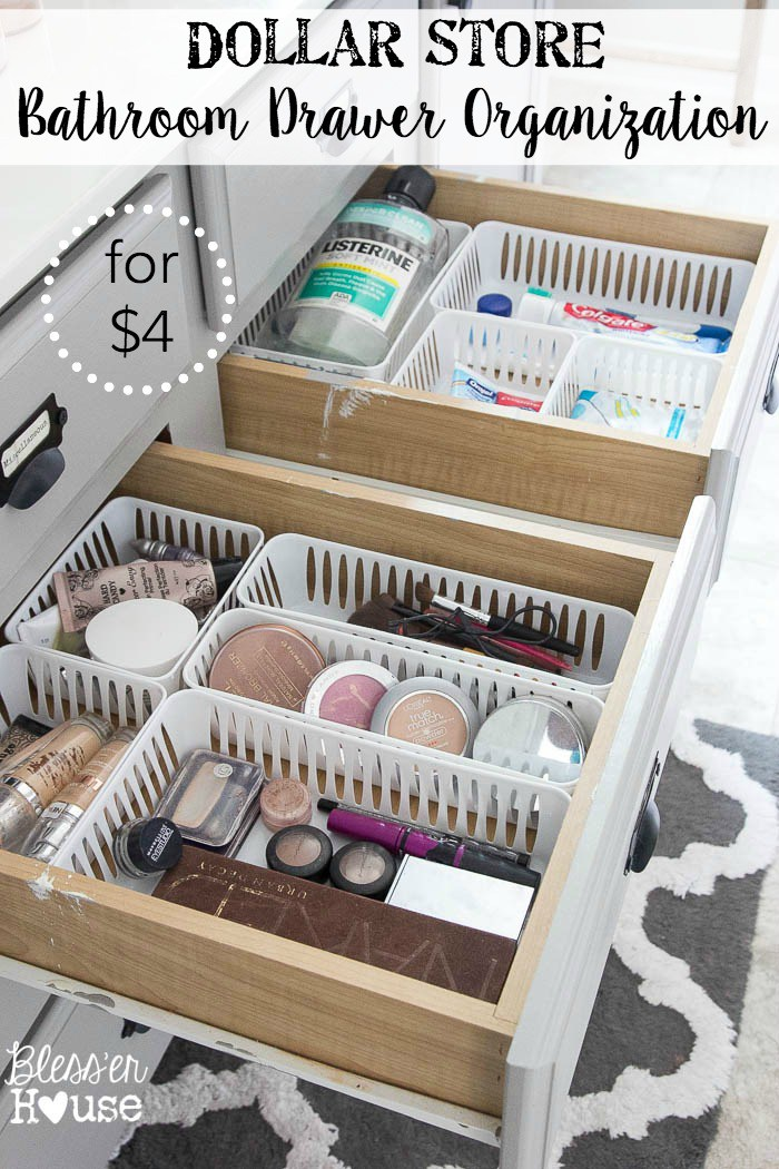 Super cheap bathroom storage organisation thanks to the Dollar Store