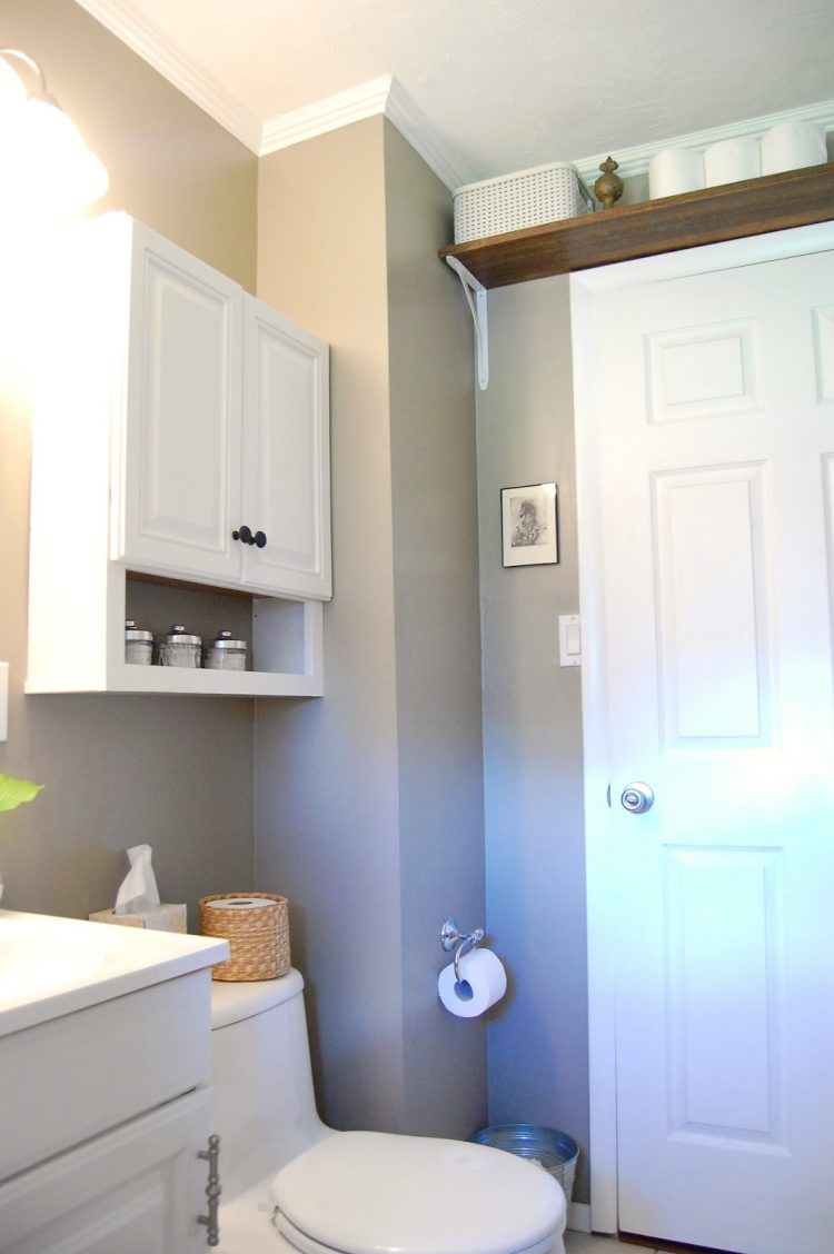 Smart hanging shelf above a door to save some space