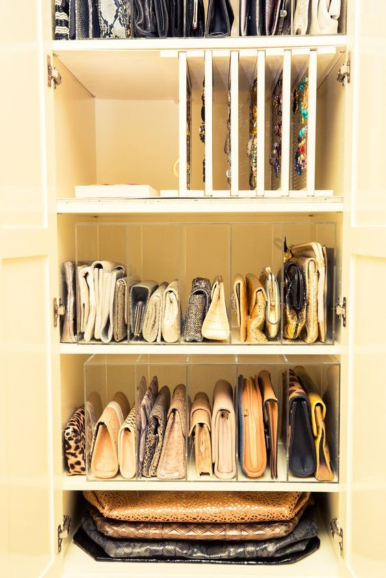 paper and file organizers can be used to store your clutches, they will fit right in