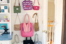 wooden strips with hooks in your space will make choosing a bag easier and faster and they will all be kept in order