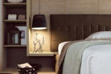 a big frabric covered lampshade adds coziness to the bedroom decor and makes it more welcoming