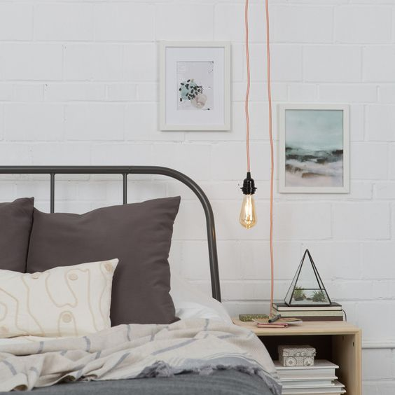 a plug in light with a copper cord is great for a Scandinavian or industrial space