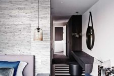 an ombre yet sheer glass pendant lamp looks and feels modern and fresh and fits the bedroom decor