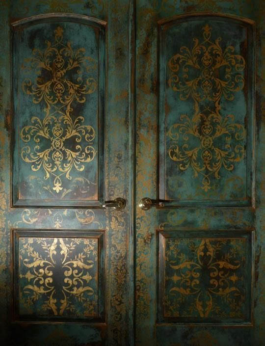 beautifully stenciled, gilded, and patinated doors will add a refined touch to the space