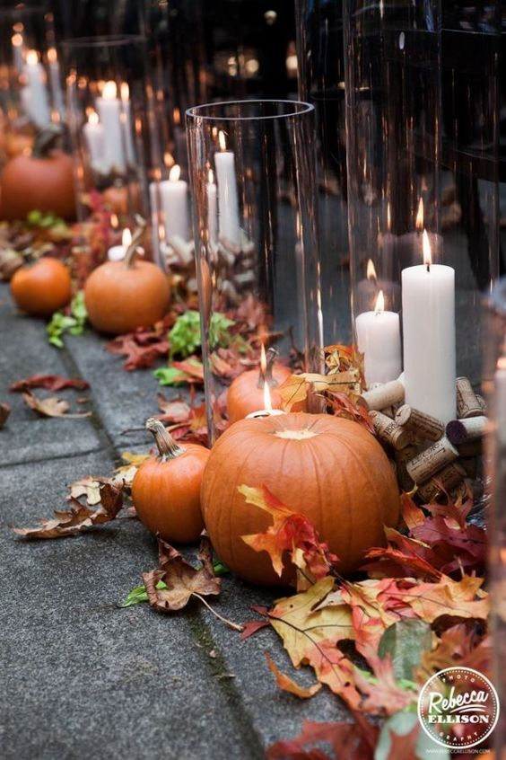 fall wedding aisle decor with leaves, pumpkins, candles and wine corks is easy to recreate