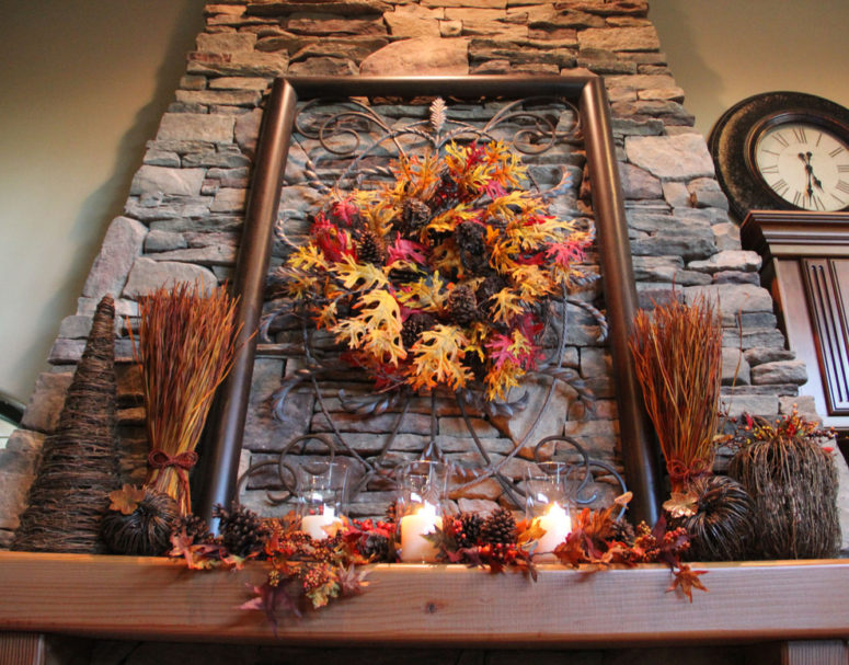 Do you have an old wrought iron window? If so, then hang a fall's wreath on it and put it on your mantel. They'd make a gorgeous display.