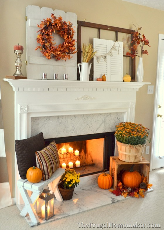 exciting fall mantel decor ideas. Vintage shutters and doors are perfect  things to hang a wreath or a bunting