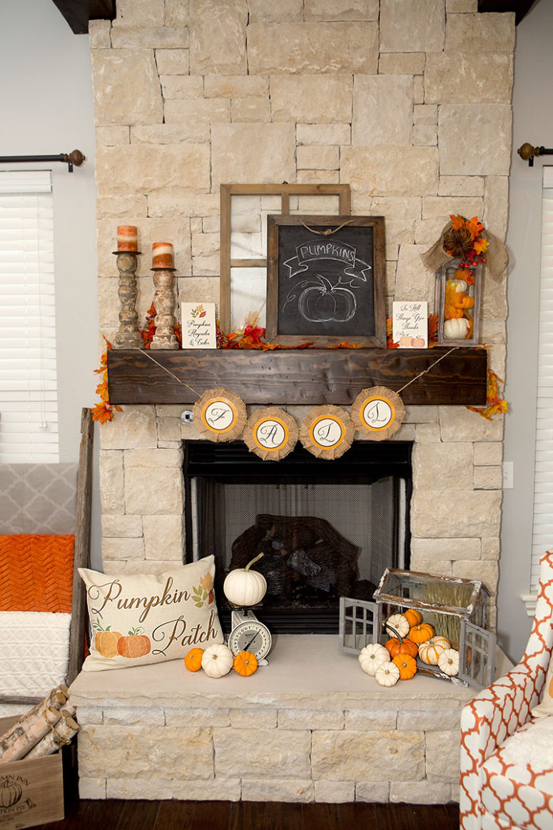 This is a great example of farmhouse style fall mantel decor with tiny pumpkins and cool vintage finds.