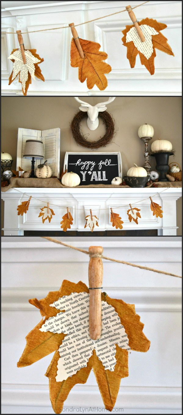 Fall leaf banner made of book pages from old books would be a great addition to fall's mantel decor.