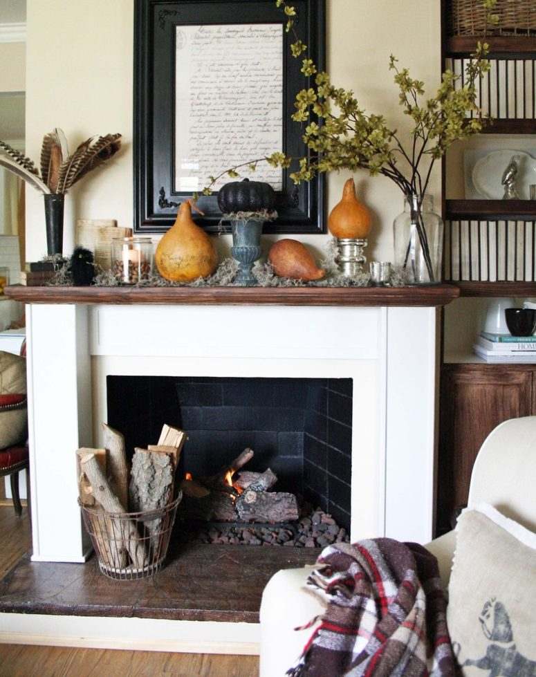 87 Exciting Fall Mantel Décor Ideas - Shelterness