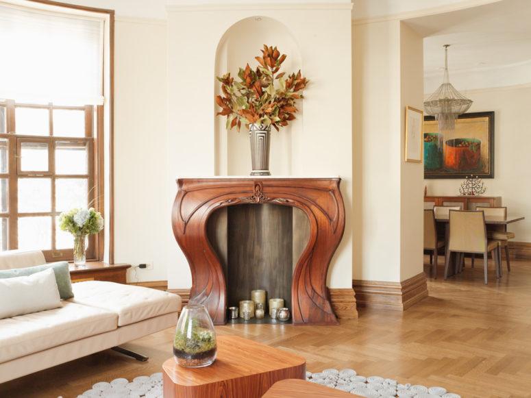 Even such gorgeous, sculptural Art Nouveau mantel could benefit from a little bit of seasonal decor.