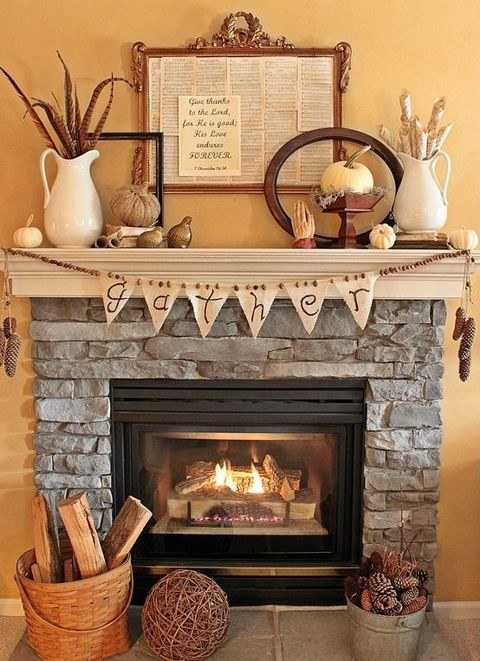 A burlap bunting is always a great, rustic addition to a fireplace's decor.