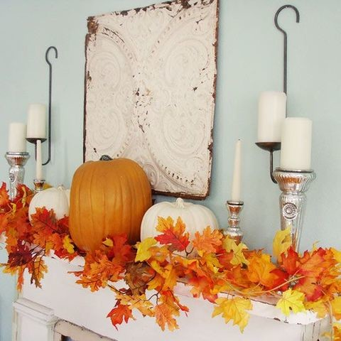Image result for fall leaf mantel decor