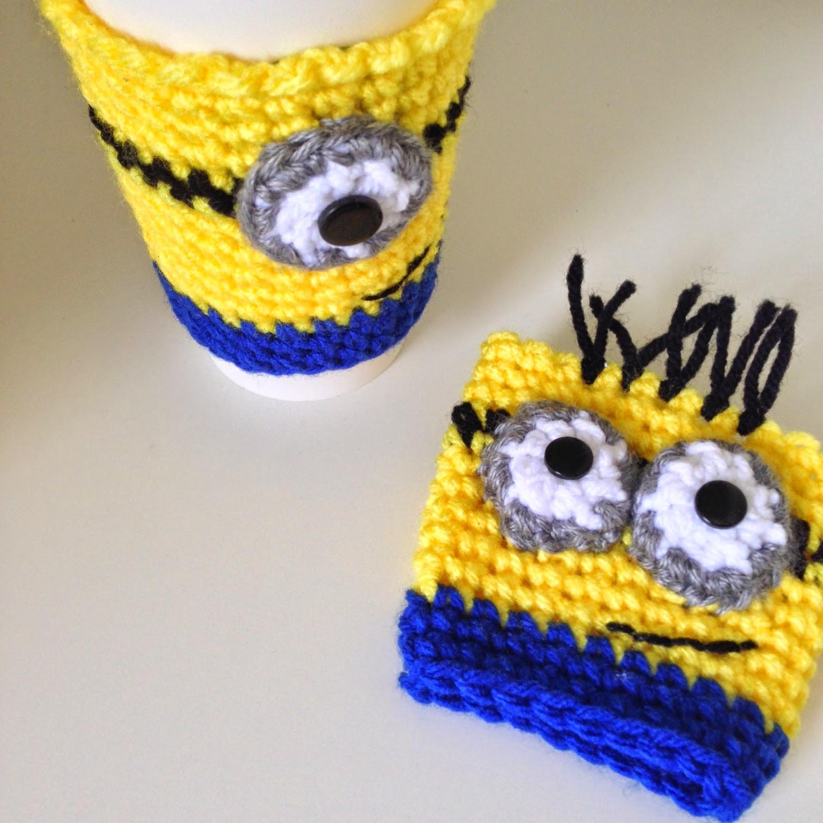 Minion chrochet coffee cozy