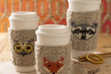 Modern forest animal cup cozies