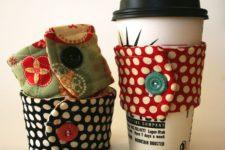 DIY cup cozy from cute fabrics
