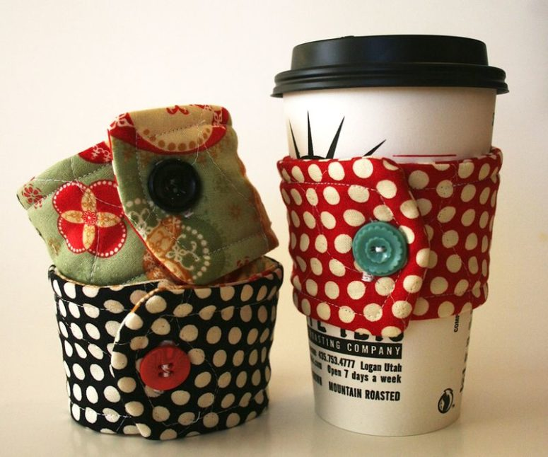 DIY cup cozy from cute fabrics (via cosmocricket.typepad.com)