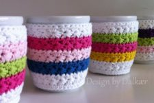 Rainbow-a-like cup cozy. You can mix your favorite colors.