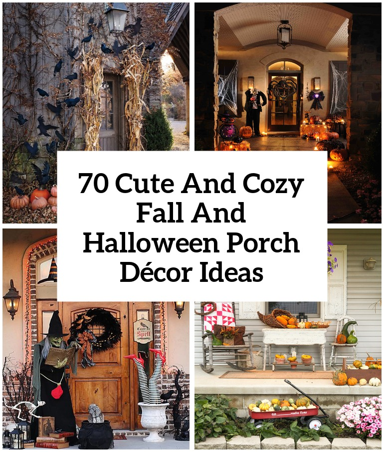 70 cute and cozy fall and halloween porch dcor ideas shelterness - Outside Halloween Decoration Ideas