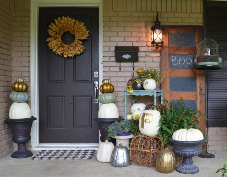 70 cute and cozy fall and halloween porch d cor ideas - Ideas para decorar porche entrada ...