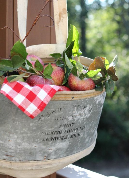 a metal bathtub with a plaid napkin, foliage, apples and twigs can be a nice outdoor-indoor decoration