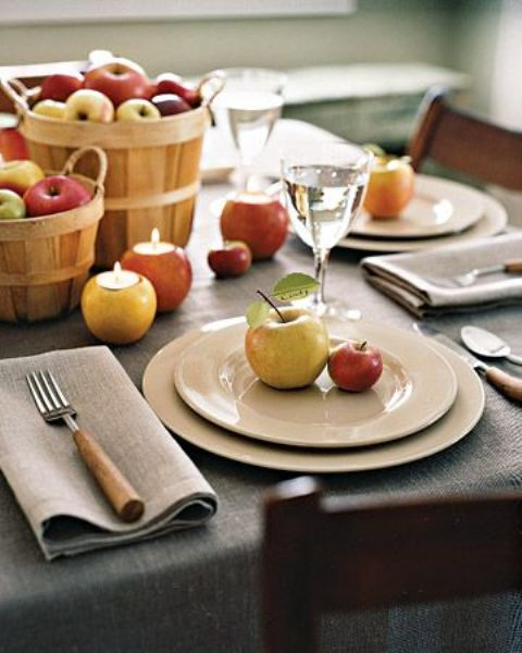 apples in wooden baskets, as candleholders and for marking each place setting are all you need for a cool fall aprty