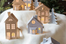 Paper Christmas village in 3D