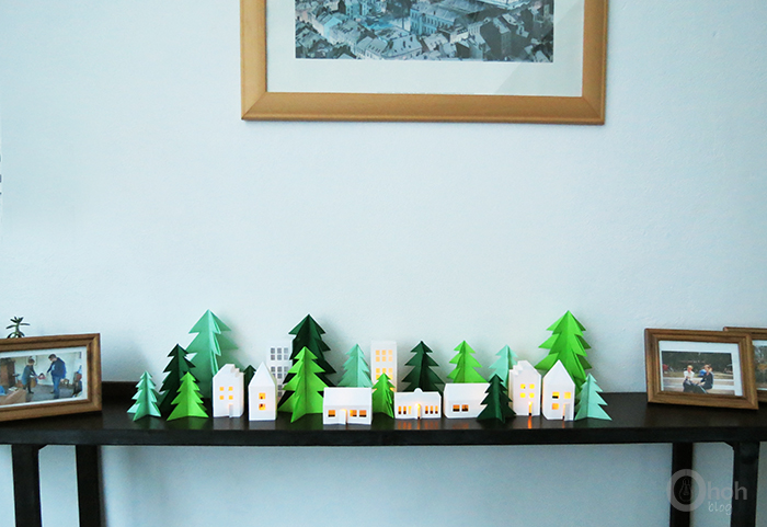diy paper christmas trees and glowing houses