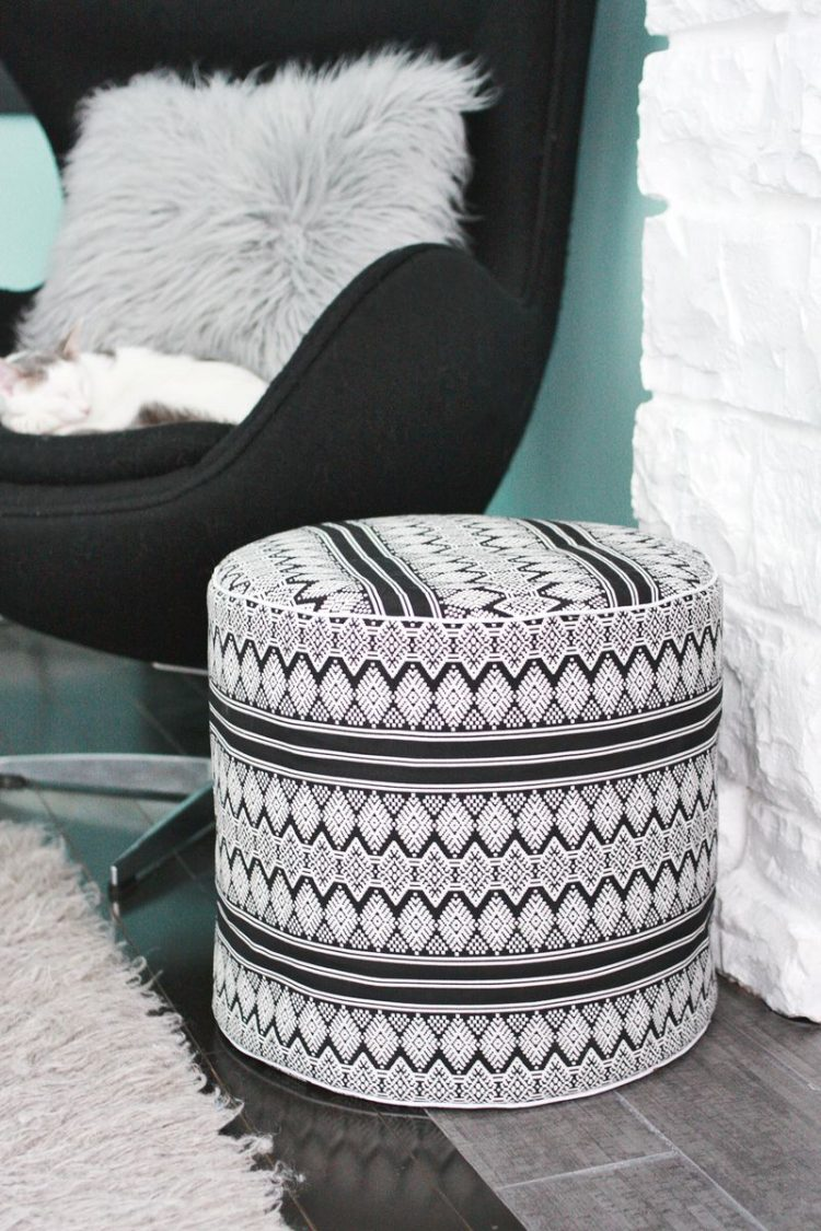 Modern black and white piece made of upholstery fabric. (via abeautifulmess)