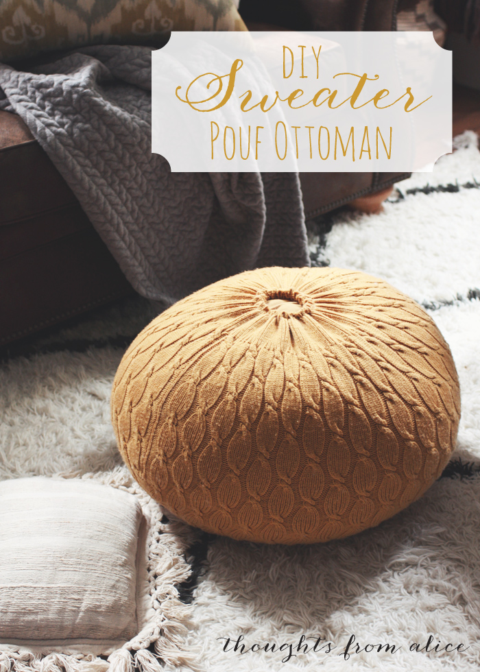 Mustard yellow sweater is turned into a cozy pouf. Perfect Fall addition to your decor. (via thoughtsfromalice)