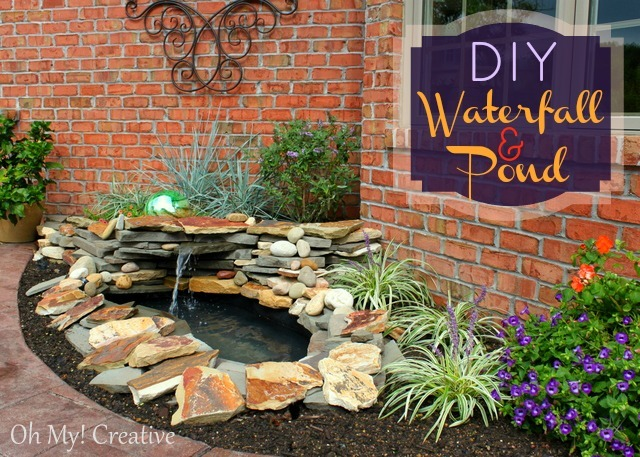 DIY landscape water feature combined with a pond and a fountain.