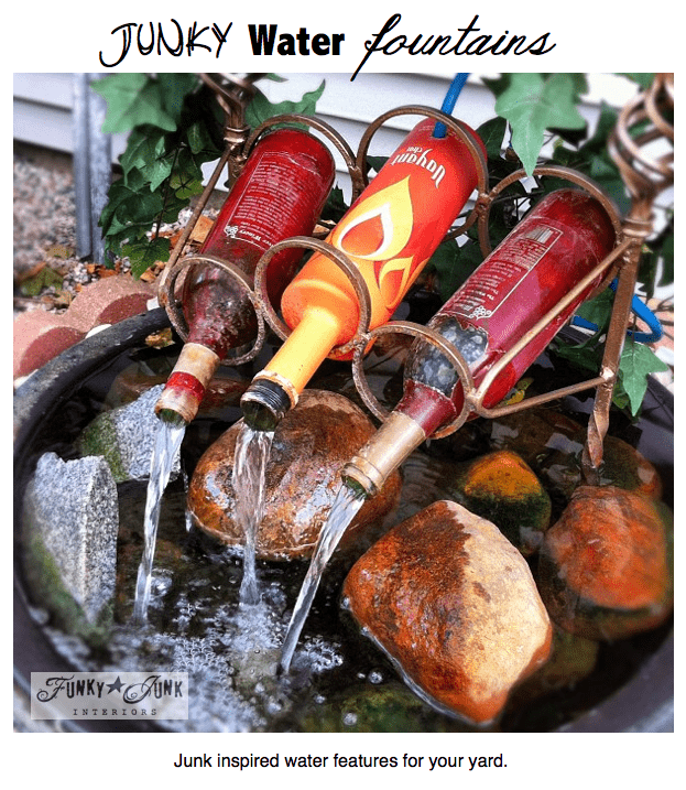 DIY wine bottle garden fountain. Who said you need to buy expensive glazed pots when you simply can repurpose some bottles? (via funkyjunkinteriors)