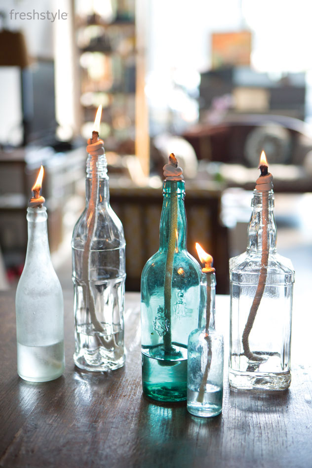 Turning  Recycled Glass Bottles Into Vintage Oil Lamps is EASY! (via freshstylemag)