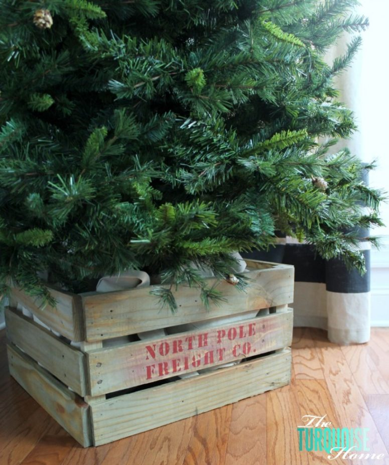 25 great diy christmas tree stands and bases shelterness. Black Bedroom Furniture Sets. Home Design Ideas