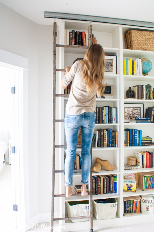 Library ladder is a super cute Billy hack. And smart one. (via thelilypadcottage)